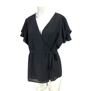 CATO Black Wrap Top Flutter Sleeve Tie Front Lined